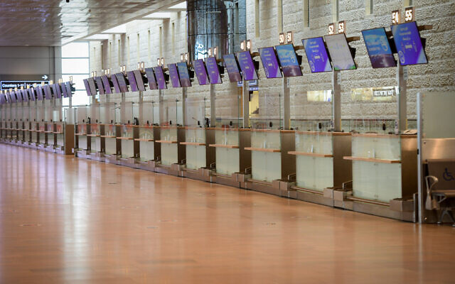 An almost empty Ben Gurion International Airport, outside of Tel Aviv, on January 18, 2021. (Avshalom Sassoni/FLASH90)