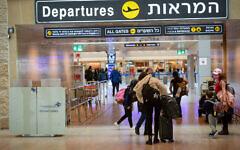An almost empty Ben Gurion International Airport on January 18, 2021. (Avshalom Sassoni/Flash90)