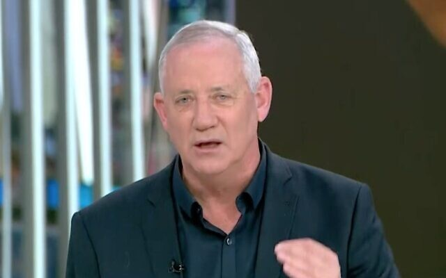 Screen capture from video of Blue and White party leader Defense Minister Benny Gantz during an interview with Channel 13 news, January 12, 2021. (Channel 13 news)