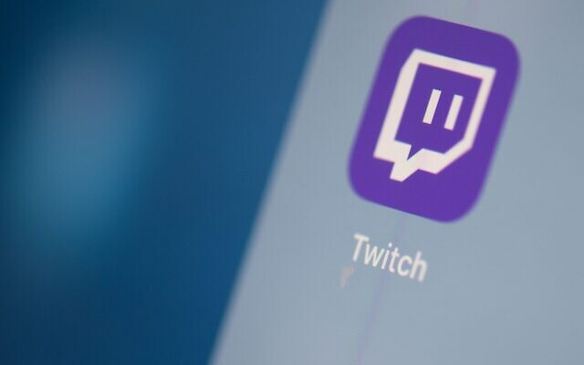 The streaming video platform Twitch logo seen on a tablet screen in July 2019. (Martin Bureau/AFP via Getty Images/JTA)