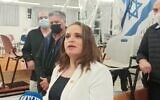 Jerusalem Deputy Mayor Hagit Moshe, pictured after she was declared the winner in elections for leadership of the Jewish Home party, January 19, 2021. (YouTube)