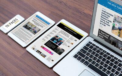 Digital issues under the 70 Faces Media brand (Janice Hwang via JTA)