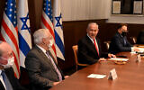 US Ambassador to Israel David Friedman, 2nd left, participates in the weekly cabinet meeting at the Prime Minister's Office in Jerusalem, January 17, 2021. (Maty Stern/US Embassy Jerusalem)