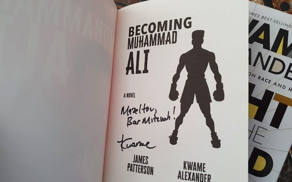 Signed book given by author Kwame Alexander to bar mitzvah boy Mossy Simonson, London, January 17, 2021 (Raymond Simonson)