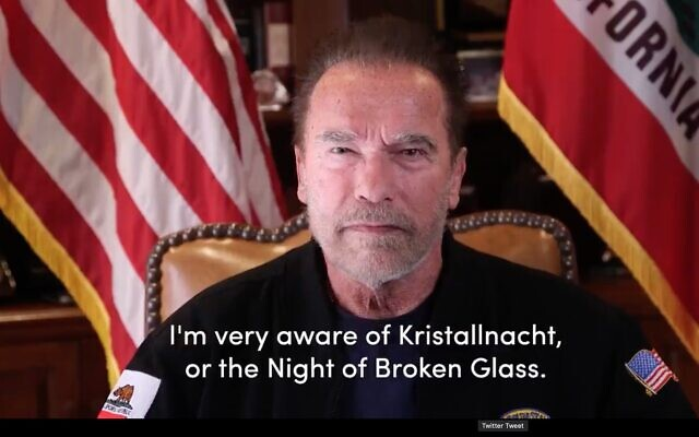Screen capture from video of movie star and former Republican governor of California, Arnold Schwarzenegger. (Twitter)