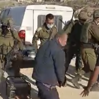 Palestinians scuffle with Israeli soldiers outside of al-Tuwani in the West Bank, on January 1, 2021 (screenshot)