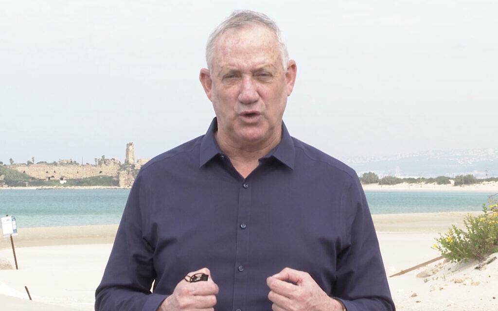 Defense Minister Benny Gantz visits the Atlit naval base in northern Israel on January 5, 2021. (Screen capture)