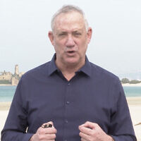 Defense Minister Benny Gantz visits the Atlit naval base in northern Israel on January 5, 2021. (Screen capture)