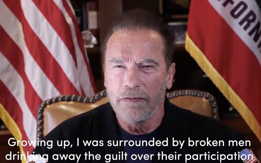 Arnold Schwarzenegger in a clip comparing the January 6, 2021 US Capitol riots to Kristallnacht, in a video on January 10, 2021. (Screenshot)