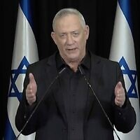 Blue and White leader Benny Gantz, in a January 11, 2021 speech, says he was wrong to partner with Prime Minister Benjamin Netanyahu. (Channel 12 screenshot)