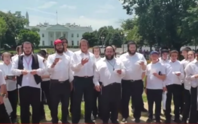 Camp Munkatch boys choir sings in front of the White House. (Screen capture/YouTube)
