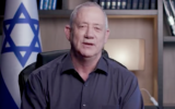 Blue and White chairman Benny Gantz in a weekly Facebook address, on January 22, 2021. (Screen capture/Facebook)