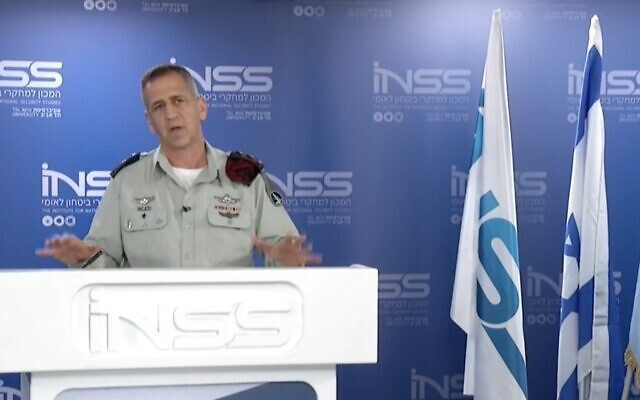 IDF Chief of Staff Aviv Kohavi speaks at the Institute for National Security Studies think tank's annual conference on January 26, 2021. (Screen capture: INSS)