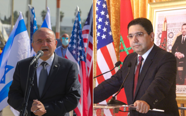 National Security Council chairman Meir Ben-Shabbat (L) and Moroccan Foreign Minister Nasser Bourita. (Photo collage/Flash90, AP)