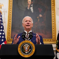 US President Joe Biden delivers remarks on the economy in the White House, Washington, January 22, 2021. (AP Photo/Evan Vucci)
