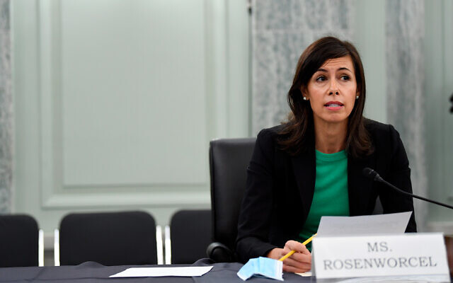 Jessica Rosenworcel answers a question during a Senate Commerce, Science, and Transportation committee hearing to examine the Federal Communications Commission on Capitol Hill in Washington, June 24, 2020. (Jonathan Newton/The Washington Post via AP, Pool)