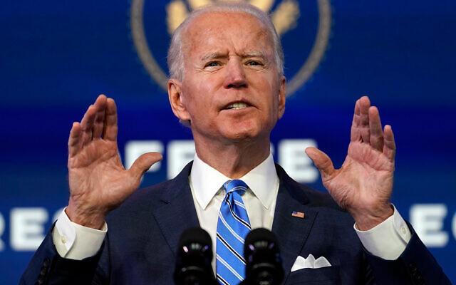 US President-elect Joe Biden speaks about the COVID-19 pandemic in Wilmington, Delaware, Jan. 14, 2021. (AP Photo/Matt Slocum)