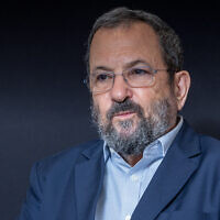 Former prime minister Ehud Barak during  amedia interview in Tel Aviv, September 30, 2019. (Yossi Aloni/Flash90)