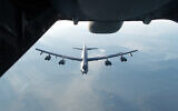 Illustrative: A US B-52H Stratofortress from Barksdale Air Force Base in Louisiana is refueled during a training exercise, August 21, 2017. (US Air Force/Louis Briscese)