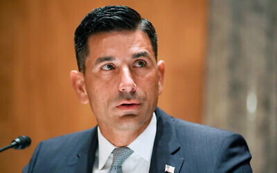 Department of Homeland Security acting Secretary Chad Wolf at his confirmation hearing on Capitol Hill in Washington, Sept. 23, 2020. (Greg Nash/Pool Photo via AP, File)