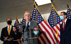 Senate Minority Leader Mitch McConnell speaks during a news conference on Capitol Hill in Washington, January 26, 2021. (AP Photo/Susan Walsh)