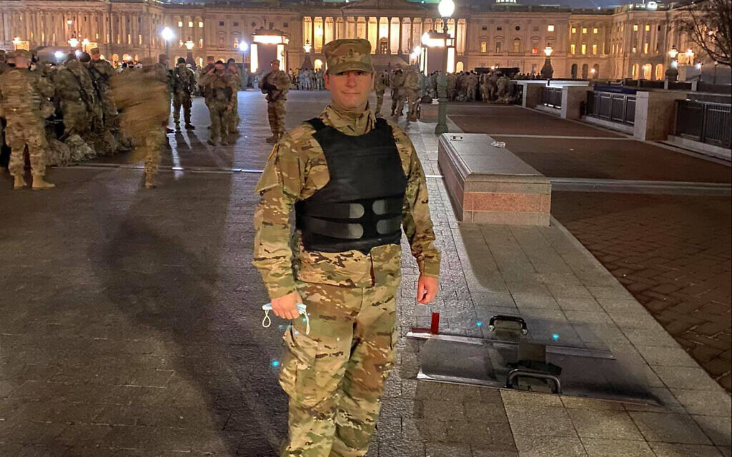 Rabbi Jordan Hersh has been deployed as part of the Maryland Army National Guard to the US Capitol since a mob of Trump supporters stormed it on January 6, 2021. (Courtesy/Hersh via JTA)