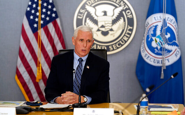 US Vice President Mike Pence speaks during a briefing about the upcoming presidential inauguration of President-elect Joe Biden and Vice President-elect Kamala Harris, Washington, Jan. 14, 2021. (AP Photo/Alex Brandon, Pool)
