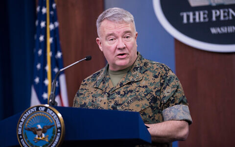 The commander of US Central Command, Marine Corps Gen. Kenneth F. McKenzie Jr., briefs reporters on the status of operations in the CENTCOM area of responsibility, at the Pentagon, Washington, March 13, 2020. (DoD/Lisa Ferdinando)