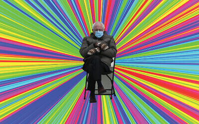 Bernie Sanders. (Brendan Smialowski/Getty Images; Pixabay via JTA)