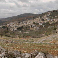 Illustrative: View of the Palestinian village Burin, near the Jewish settlement of Har Bracha (Flash90)