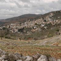 Illustrative: View of the Palestinian village Burin, near the Jewish settlement of Har Bracha (Flash90)