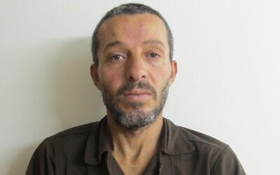 Muhammad Mruh Kabha, 40, from the Palestinian village of Tura al-Gharbiya, is suspected of murdering Esther Horgen of the Tal Menashe settlement on December 20, 2020. (Shin Bet)