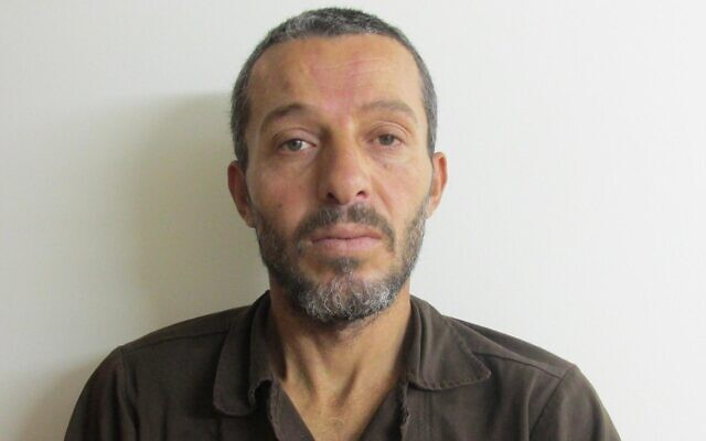 Muhammad Mruh Kabha, 40, from the Palestinian village of Tura al-Gharbiya, is suspected of murdering Esther Horgen of the Tal Menashe settlement on December 20, 2020. (Shin Bet)