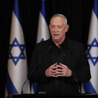 Blue and White leader Benny Gantz, in a January 11, 2021 speech, says he was wrong to partner with Prime Minister Benjamin Netanyahu. (Elad Malka)