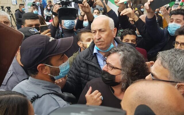 Joint List parliamentarians confront police officers during a visit by Prime Minister Benjamin Netanyahu to Nazareth on January 13, 2021 (courtesy: Joint List)