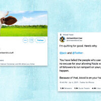 Antisemitism Cow, an anonymous account that made mooing at anti-Semitic tweets its mission, returned to lash out at Twitter. (Screenshots from Twitter via JTA)