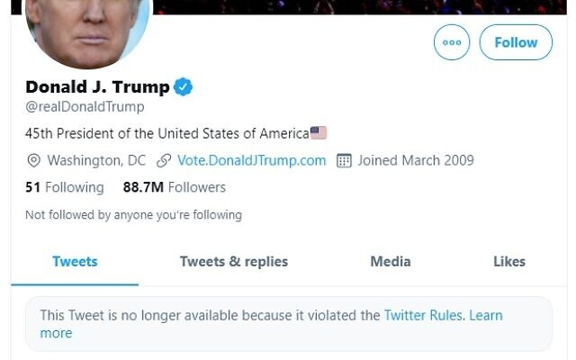 A screenshot of US President Donald Trump's Twitter account with two posts blocked by Twitter, on December 6, 2021 (screenshot)