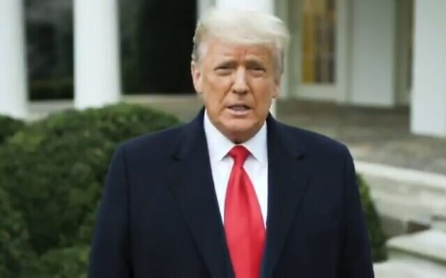 US President Donald Trump addresses supporters in a video after they stormed the US Capitol building on January 6, 2021, in Washington, DC. (video screenshot)