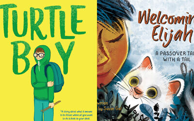 'Turtle Boy' and 'Welcoming Elijah' are among the top Sydney Taylor Book Awards winners in 2020. ('Turtle Boy': Courtesy of Delacorte Press/Random House; 'Welcoming Elijah': Courtesy of Charlesbridge/ via JTA)