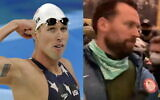 (L) US relay swimmer Keller during the swimming competitions in the National Aquatics Center at the Beijing 2008 Olympics in Beijing, August 12, 2008. (R)   Keller seen participating in the US Capitol riots January 6, 2021. (AP Photo/Thomas Kienzle / Screenshot: Youtube/Townhall Media)