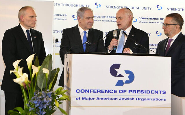 From left: Conference of Presidents chairman William Daroff, Prime Minister Benjamin Netanyahu and the Conference's Malcolm Hoenlein and Arthur Stark, at a Conference of Presidents of Major Jewish Organizations event. (Twitter via JTA)