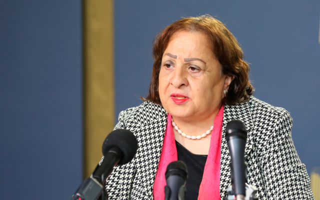 Palestinian Authority Health Minister Mai al-Kaila (WAFA)