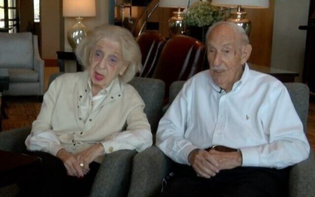 Edith and Lou Bluefeld seen in a local news report, undated (Screen shot from WPTV via JTA)