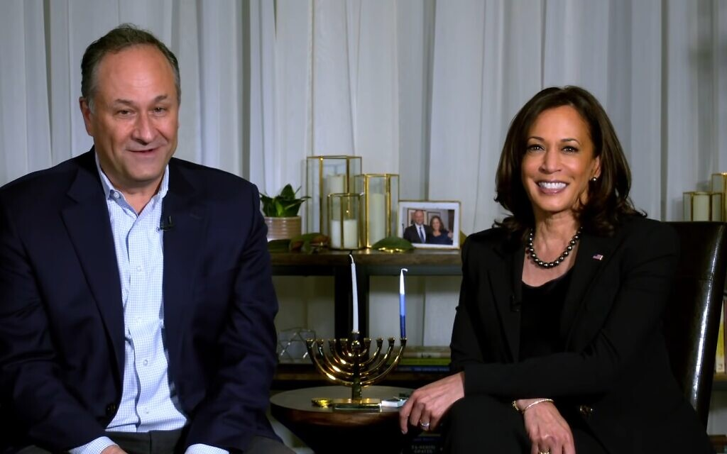 Incoming vice president Kamala Harris send out a Hanukkah message with second gentleman Doug Emhoff, December 10, 2020. (YouTube screenshot)