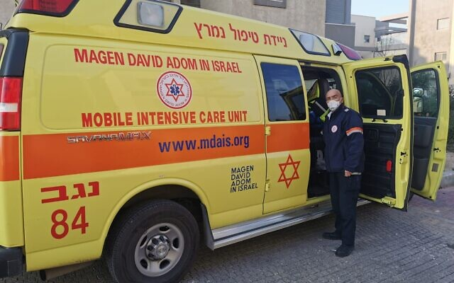 Magen David Adom forces at the scene of a suspected murder in Yeruham on January 4, 2021 (MDA operational documentation)