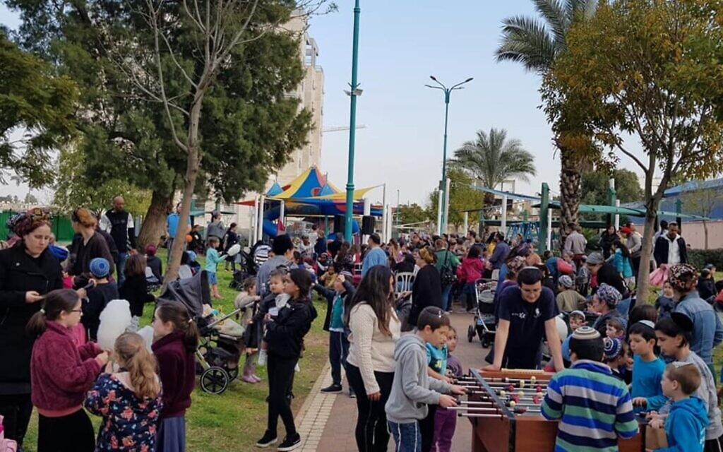 A Purim carnival in February 2019, one of the many activities created by the Lod Garin Torani community in Lod. (Courtesy Lod Garin Torani)