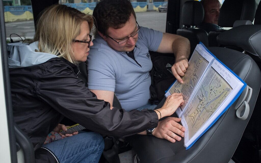 Professor Wendy Lower and Andrej Umansky conduct a 'Yahad-In Unum' field investigation in Ukraine, 2016 (courtesy)