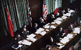 Judges deliberate at the trials of Nazi war criminals in Nuremberg, Germany, Jan. 1, 1945 (The US Holocaust Memorial Museum via JTA)