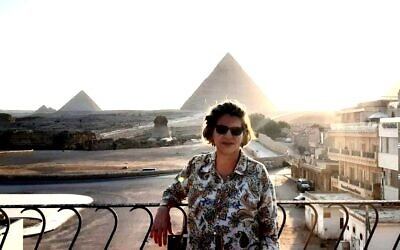 Ambassador Amira Oron in front of the Great Pyramids in Giza, Egypt, in an undated photo. The provided photo has been digitally altered by The Times of Israel for artistic effect. (Courtesy: Amira Oron)