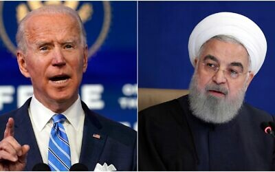 Left: US President-elect Joe Biden on Jan. 14, 2021, in Wilmington, Delaware (AP Photo/Matt Slocum); Right: Iranian President Hassan Rouhani speaks in a meeting in Tehran, Iran, Dec. 9, 2020 (Iranian Presidency Office via AP)